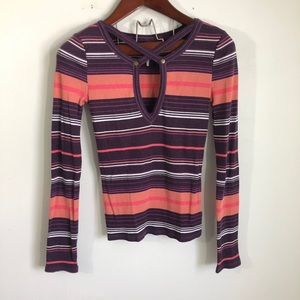 Free People Ribbed Striped Strappy Top Cut Out S